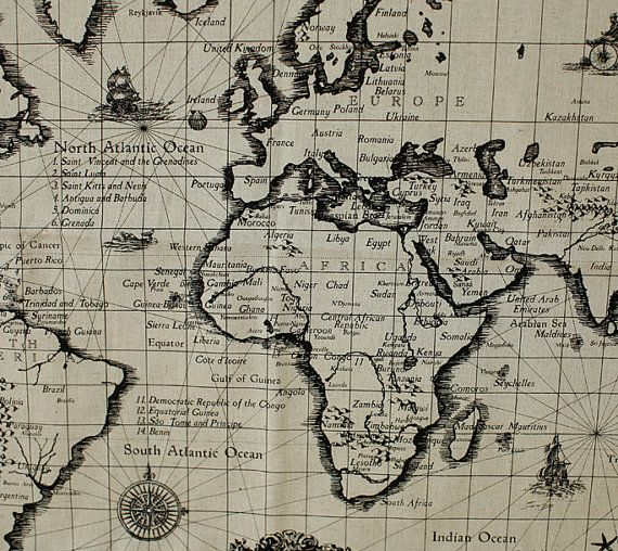 10 best map fabric images on pinterest world maps map fabric map of the world antique linen illust cut by harvard5f on etsy 1990 gumiabroncs Image collections