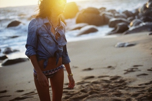 Denim top over swim suit. Cute and causal beach style