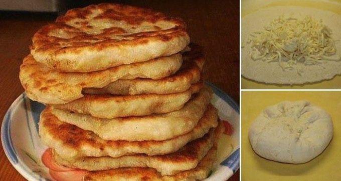 Mit Käse gefüllter schneller Langosch – kein Hefeteig, in nur 10 Minuten fertig