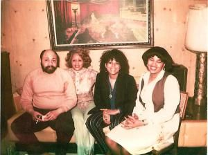 """""""This photo may have been from Minnie Riperton's very last visit to Chicago in 1979.   From left to right: brother, Ronald ; sister, Clarice ; Minnie; and niece Yolanda"""