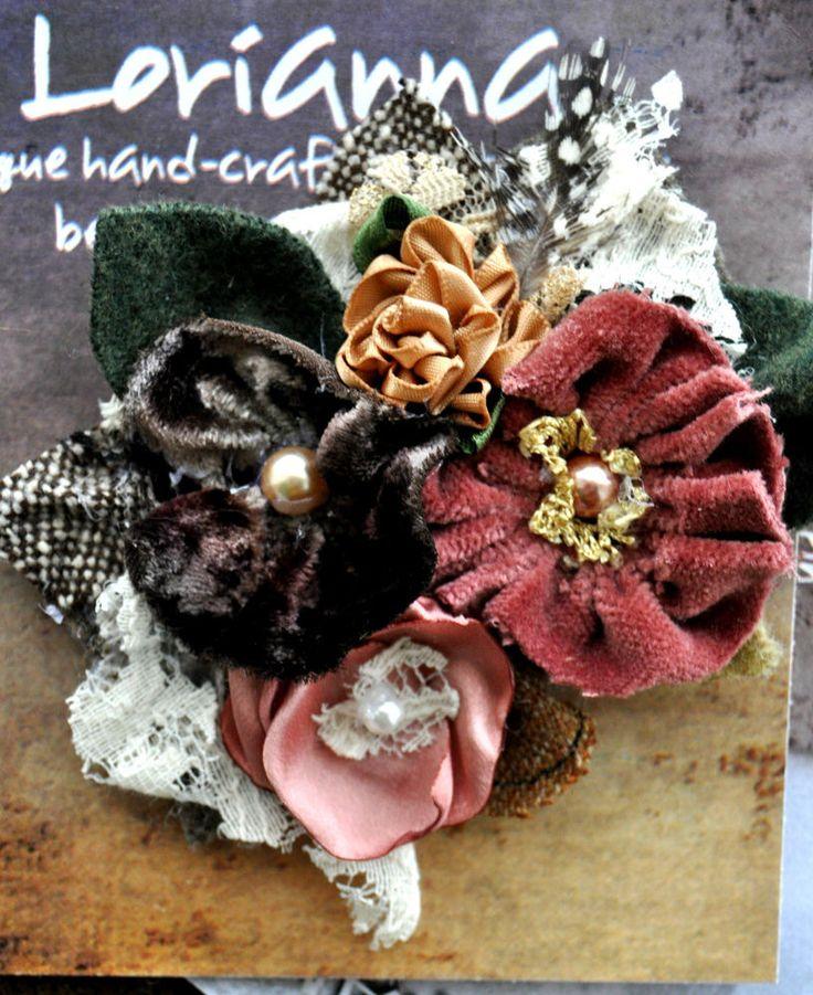 cream pink lace flower brooch dress shrug pin corsage vintage 1940 1950 velvet L