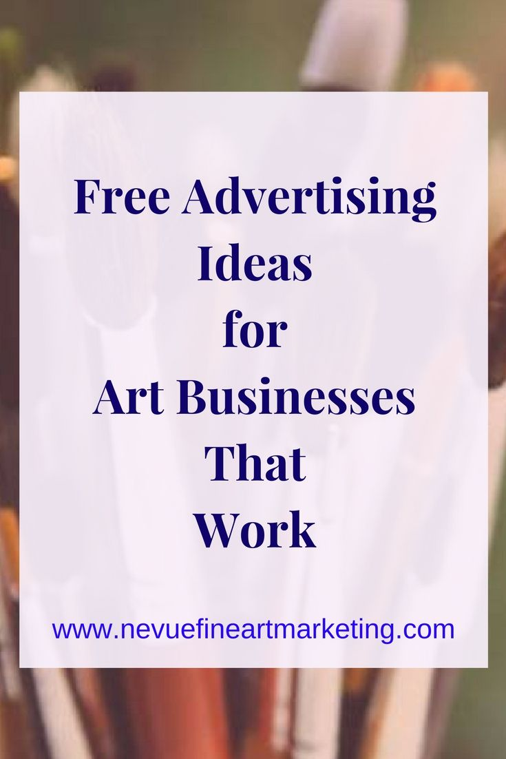 Free Advertising Ideas for Art Businesses. Advertising doesn't have to be expensive. Learn how to build brand awareness to people around the world.