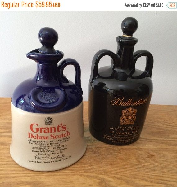 Two Vintage Scotch Whiskey Ceramic Decanters Grant's Deluxe Scotch & Ballantine's Whiskey Wedding Prop Mancave Gift Made in England by VintageFlicker