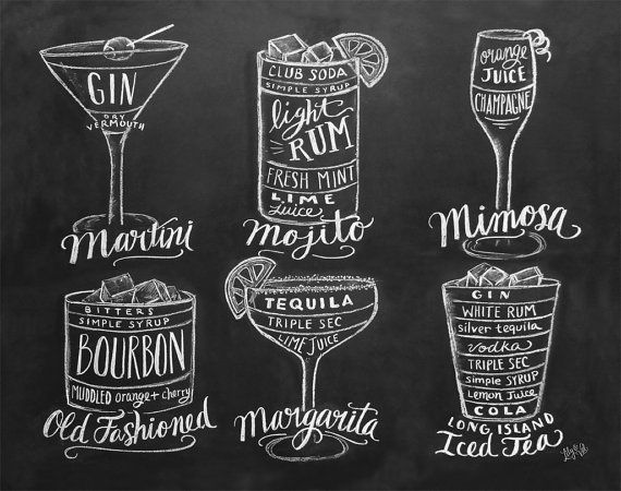 Guide To Cocktails Print - Chalkboard Art - Kitchen Art - Bartender Gift - Chalk Art