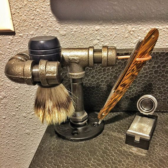 Industrial Straight Razor & Shave Brush shaving by BROlsonDesign