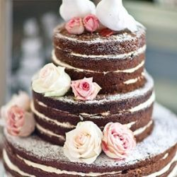 Not so much bare as beautiful, a bare wedding cake is a yummy alternative to the traditional white iced tiers. {Image via Rosie Parsons} #weddinggawker