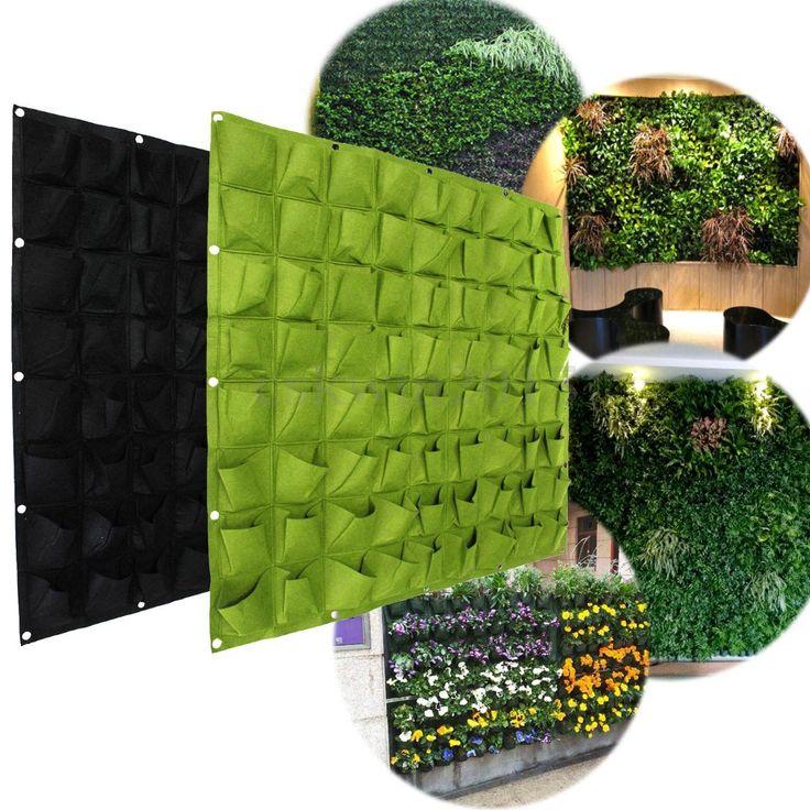 36/72 Pocket Planting Bag Vege Herbs Flower Hanging Wall Vertical Planter Garden - Walmart.com