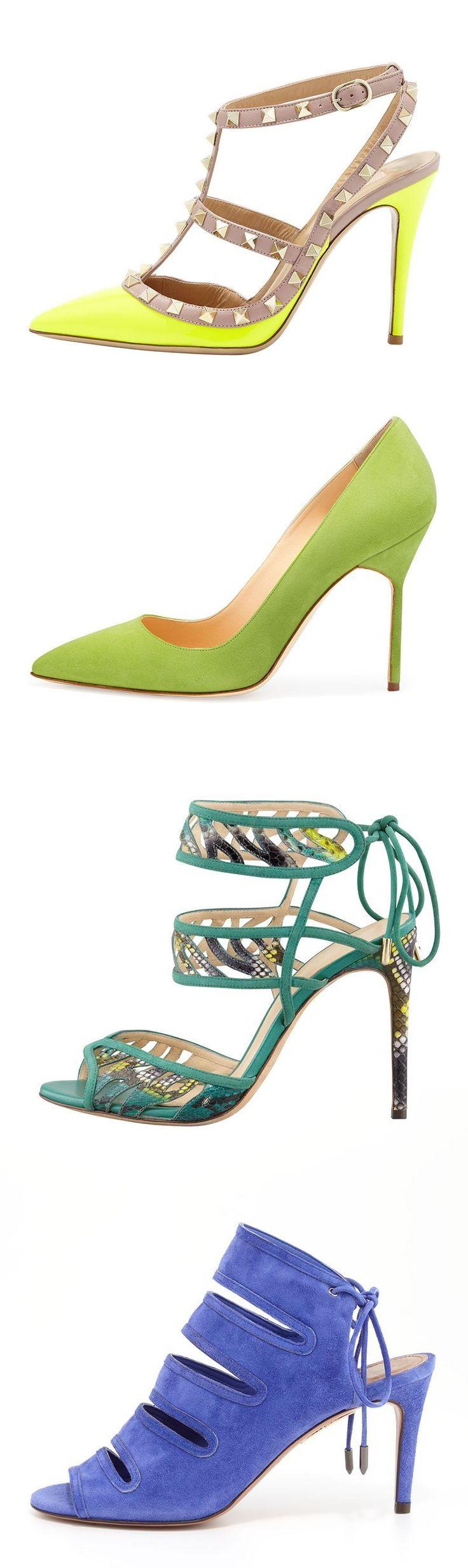 THE VIVIDS - Add the unexpected color - neon Valentino, chartreuse Manolo Blahnik, aquamarine Alexandre Birman or cerulean Aquazurra. #manoloblahnikheelscolour