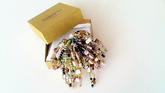 Brooch, Multi Color Brooch, Beaded Brooch, Women's Brooch, Ladies Bohemian Brooch, Women's Cluster Brooch, Gypsy Brooch, Gift For Her