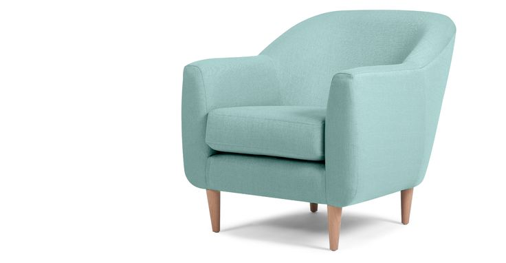 Tubby Armchair, Turquoise Blue