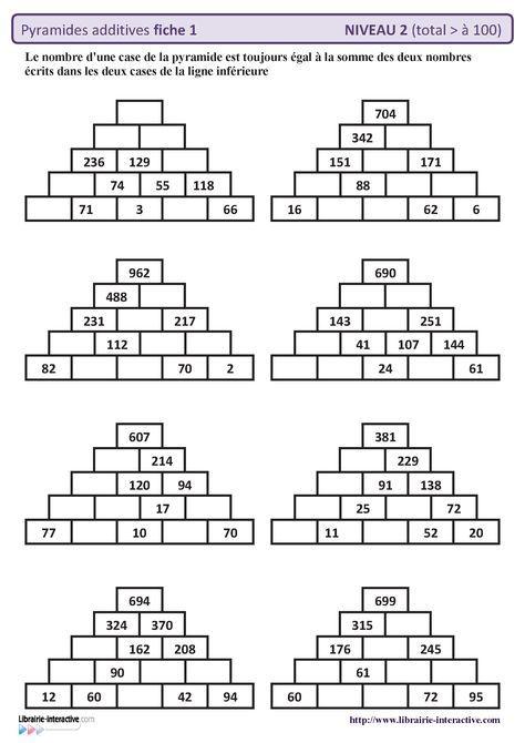 10 fiches autocorrectives avec des pyramides additives de niveau 2 (résultat supérieur à 100)
