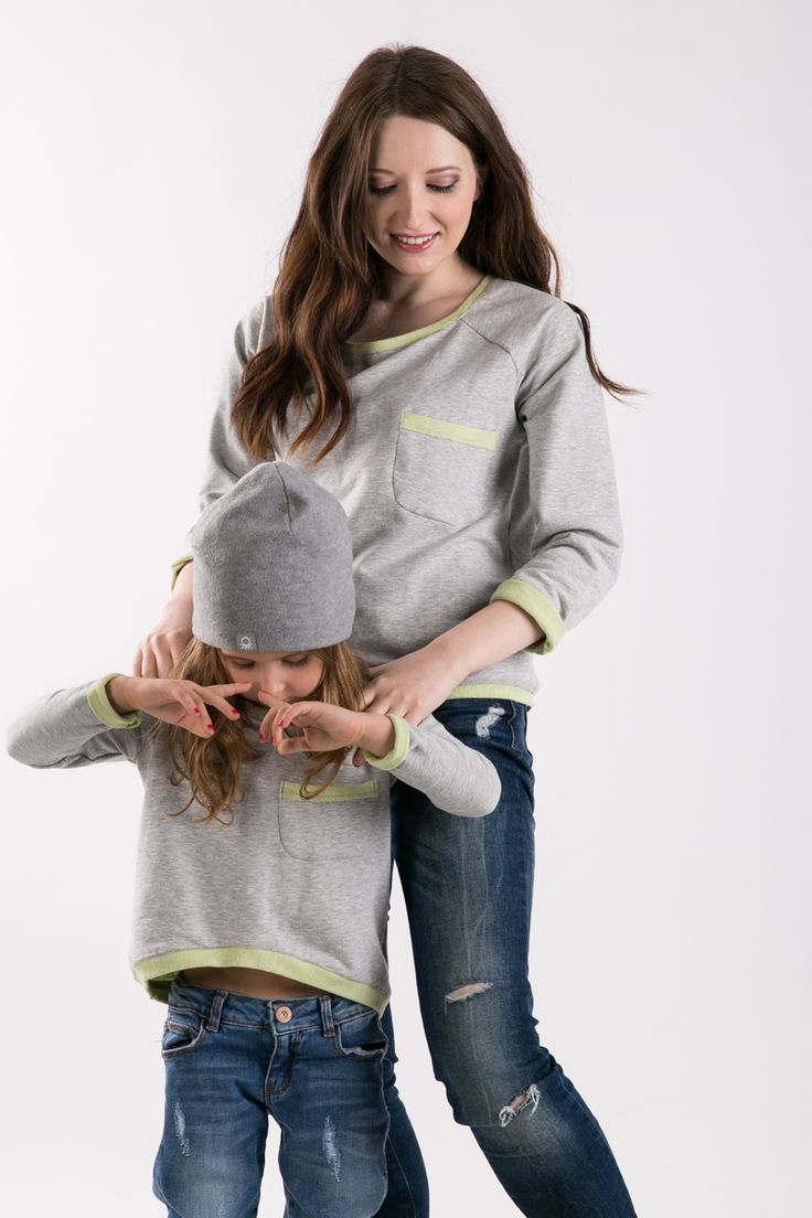 Matching mommy and daughter outfits. Set of two loose, comfortable cotton sweatshirt with double-sided.