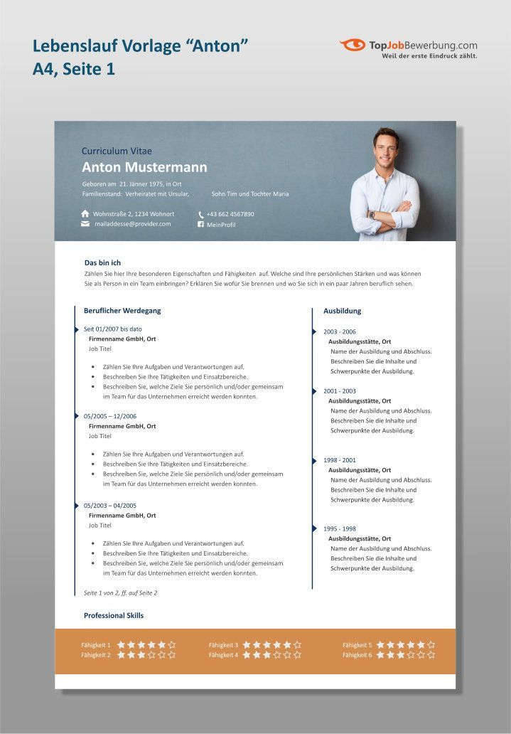 Topjobbewerbung Com Professional Resume Template Anton With Wide Portrait Photo Header And Two Columns Resume Photo Free Resume Template Word Resume Design