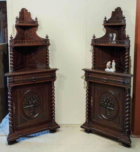 Rare Matching Pair,French Hunt Oak Corner Cabinets,Barley Twist Carvings, Antique - Best 25+ Oak Corner Cabinet Ideas On Pinterest Kitchen Ideas