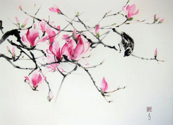 Japanese Ink Painting Asian art Ink art Sumi-e by Suibokuga