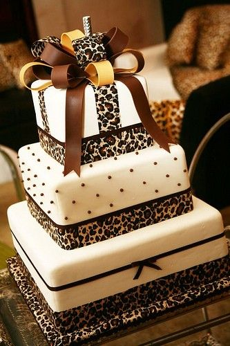 leopard and bow dotted cake...love