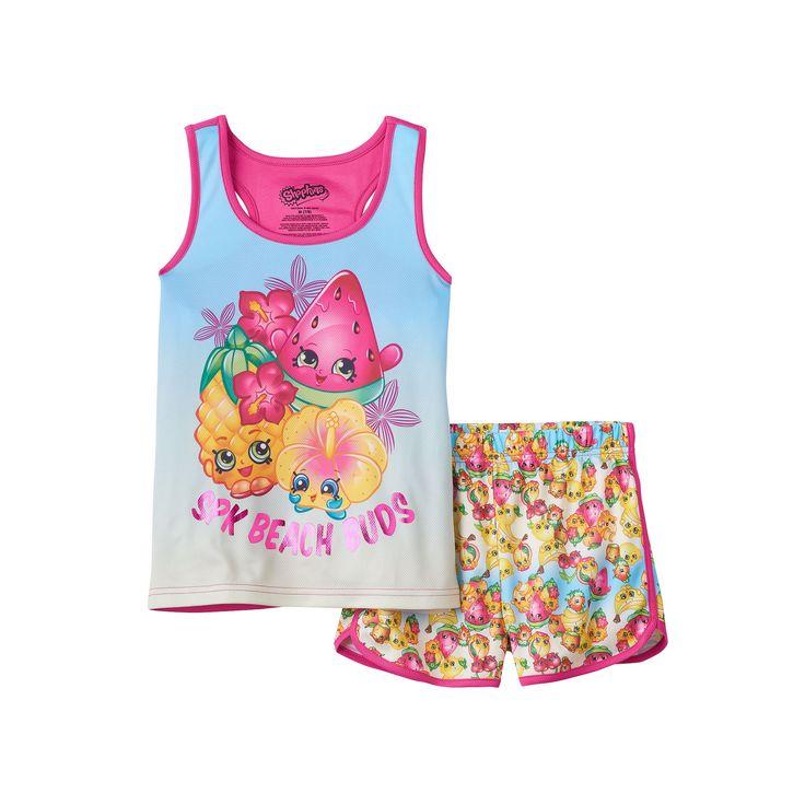 "Girls 4-12 Shopkins Pineapple Crush, Melonie Pips & Heidi Hibiscus ""spk Beach Buds"" Tank Top & Shorts Pajama Set, Girl's, Size: 7-8, Drk Purple"