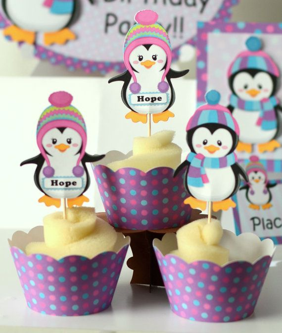 12 Penguin Party Cupcake Toppers  Birthday Party by bcpaperdesigns