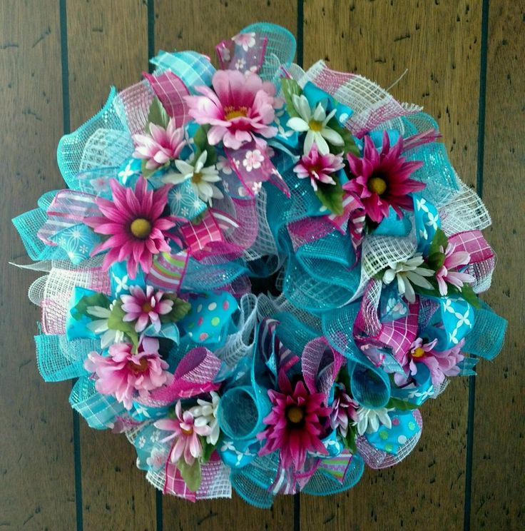 PRETTY SPRING EVERYDAY DECO MESH RIBBON WREATH - Free Shipping #DecoMesh