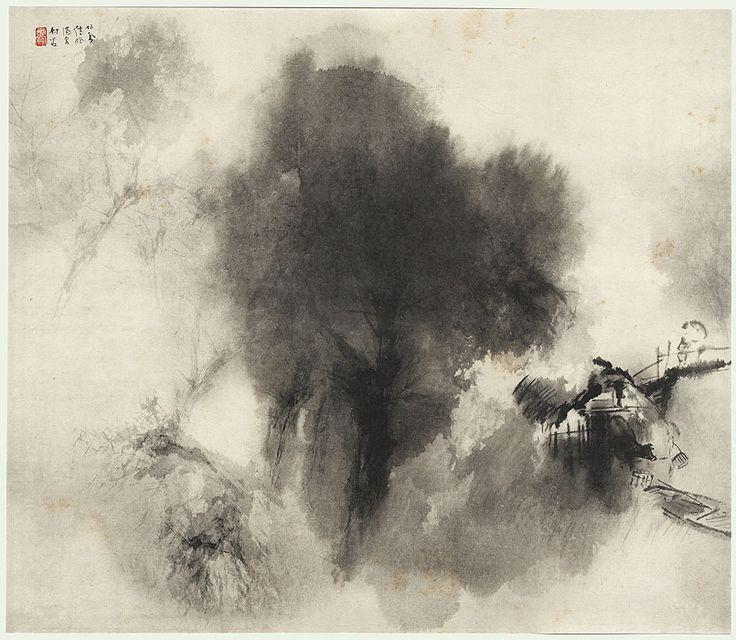 Original Takeuchi Seiho (1864 - 1942) Japanese Woodblock Print Ink Landscape
