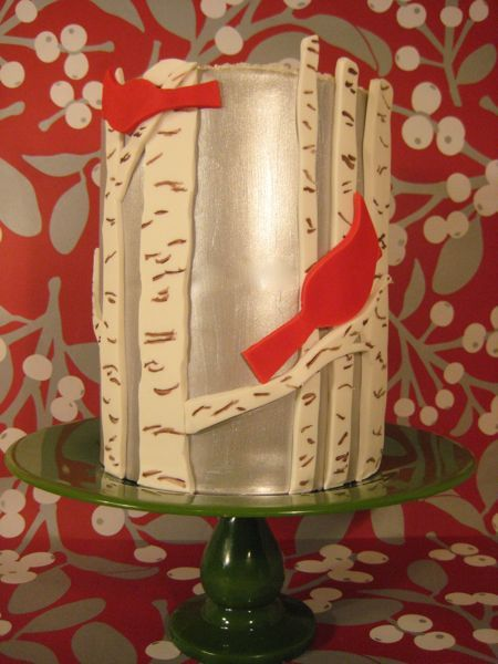Cardinals In The Birch Trees Silver Wedding Cake