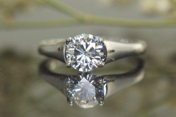 6.5 MM Solitaire Moissanite Wedding Bridal Engagement Ring Set 14k White Gold GP