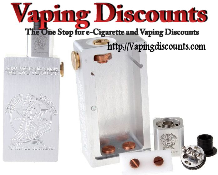 $35.05 Cherry Bomber Mechanical Box Mod and RDA Style Kit. Purchase the Cherry Bomber Box mod and RDA styled kit for only $35.05. Vapingdiscounts.com!