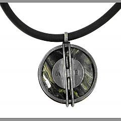 Fish Eye necklace in Sterling Silver, mother of pearl and neoprene $198 http://www.lordcoconut.com/shop/fish-eye-necklace/