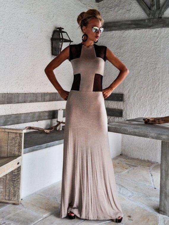 Vestito beige con dettaglio trasparente nero / Maxi Dress /