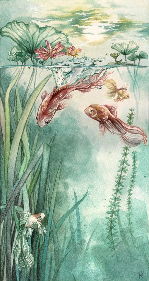 Tranquility by ~couchmochi on DeviantArt. Watercolor fishes!: Favorite Fish, Arti Stuff, Koi Fish, Watercolors, Art Animal, Watercolor Fish, Gold Fish, Water Colors, Goldfish