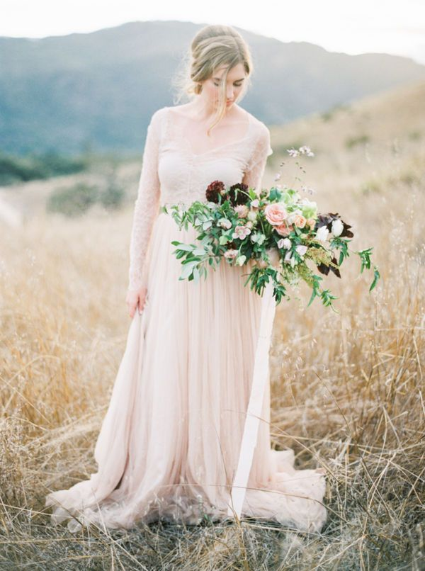 Colorful wedding dress perfection. This blush gown is beautiful!