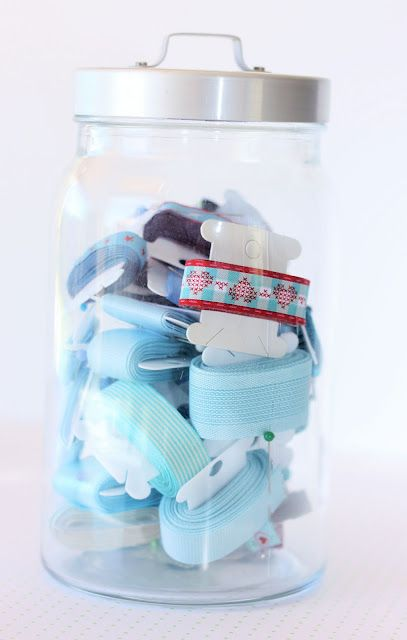 Use jars to store same colour ribbons/threads etc