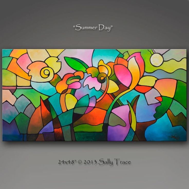 """""""Summer Day"""" Original acrylic abstract painting, 24x36 inches on gallery wrapped canvas"""