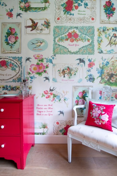 Vintage postcard wallpaper! From the Room Seven Wallpaper Collection distributed by Coordonné.