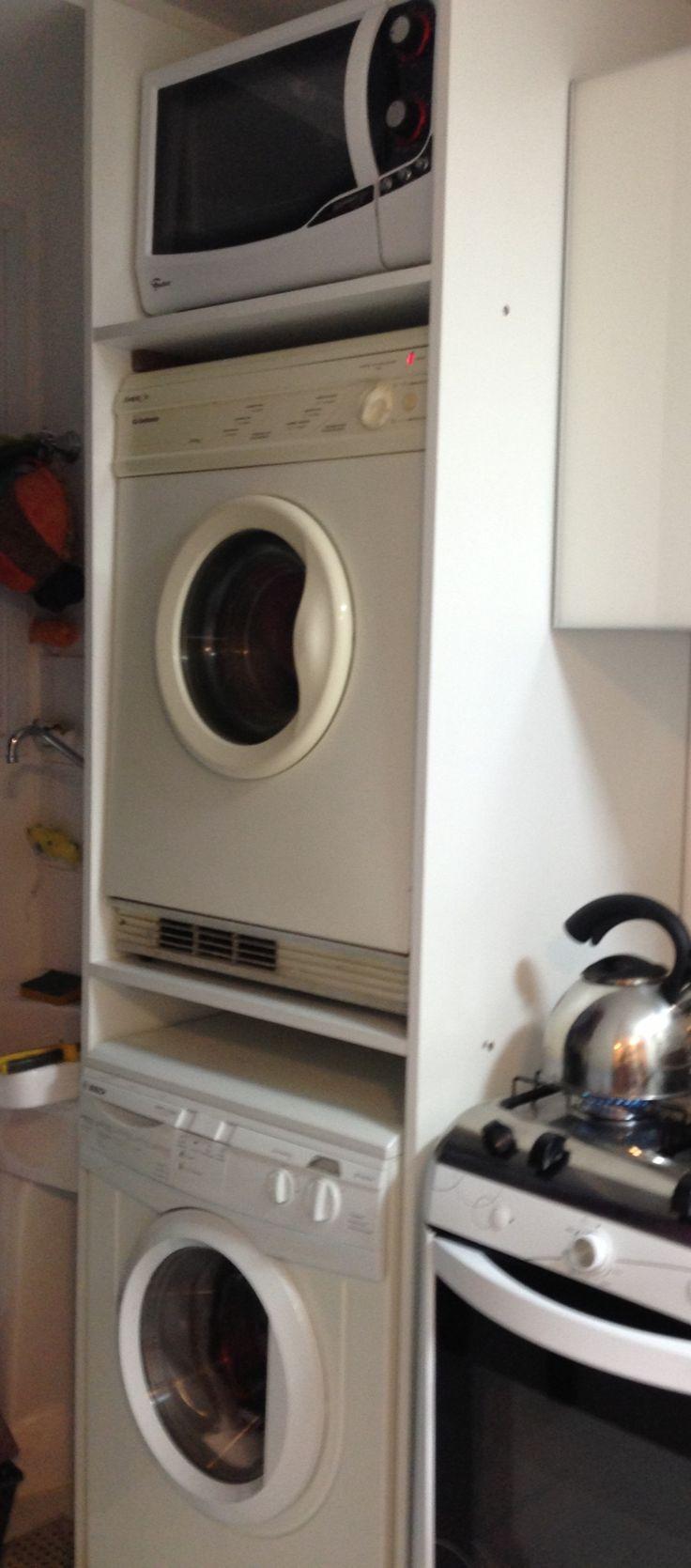 Móvel para maquina de lavar, secar e forno