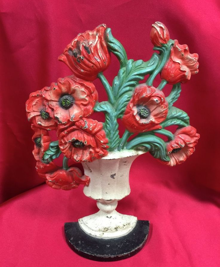 Antique Orig Hubley 440 Basket Red Poppies Floral Cast Iron Door Stop  Doorstop - 292 Best Hubley Cast Iron Images On Pinterest Irons, Bookends