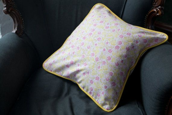 """Floral Decorative Pillow, Flowery Cushion, Cotton Pillow, Pink Yellow Cushion Cover, Pillow Cover 18 x 18"""" (45 x 45 cm), down feather insert Home & Living,  Home, Décor Decorative Pillows,  cushion,  pillow,  cushion cover,  pillow cover,  soft furnishings, home decor,  floral pillow ,floral pillow ,case floral cushion,  yellow cushion, cover throw pillow,  roses, cushion pillow chams"""
