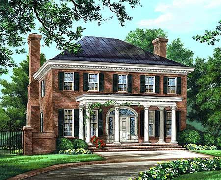 Majestic Traditional Home Plan - 32590WP | Georgian, Traditional, Narrow Lot, 2nd Floor Master Suite, Bonus Room, Butler Walk-in Pantry, Den-Office-Library-Study, PDF, Corner Lot | Architectural Designs