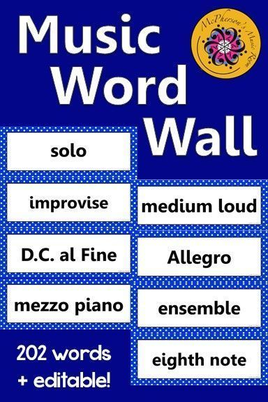 Music students will be able to see your bulletin board or music word wall anywhere in the room! 202 words plus, an editable ppt slide is included to add a word. A must have for music education classrooms!