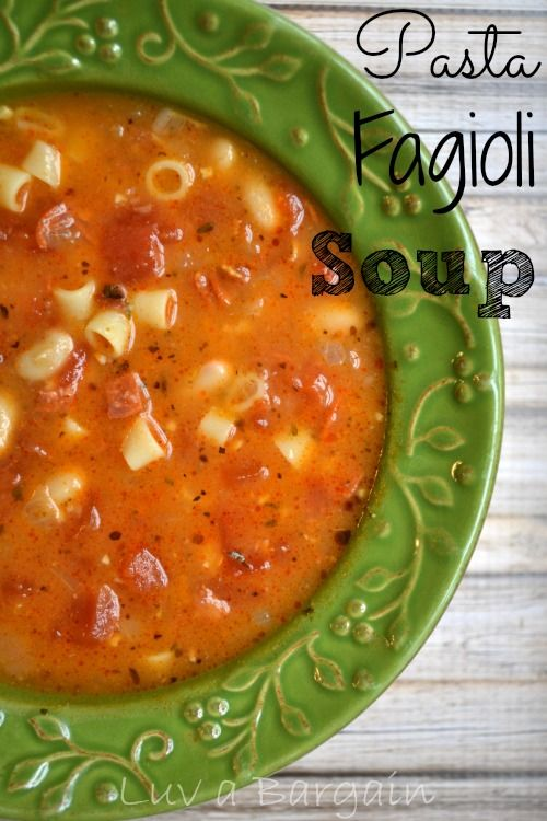 Pasta Fagioli Soup -- must try this version (minus the bacon) since I stopped eating Pork