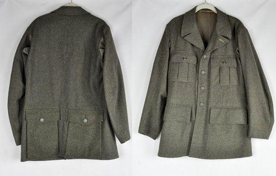 Vintage 1940 Swedish WWII Military Coat Jacket by ItaLaVintage