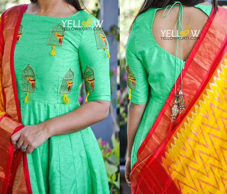 Beautiful color floor length anarkali dress with famous bird and cage design hand embroidery thread work on yoke and sleeves. Anarkali dress with yellow and red color combination dupatta. 09 December 2017