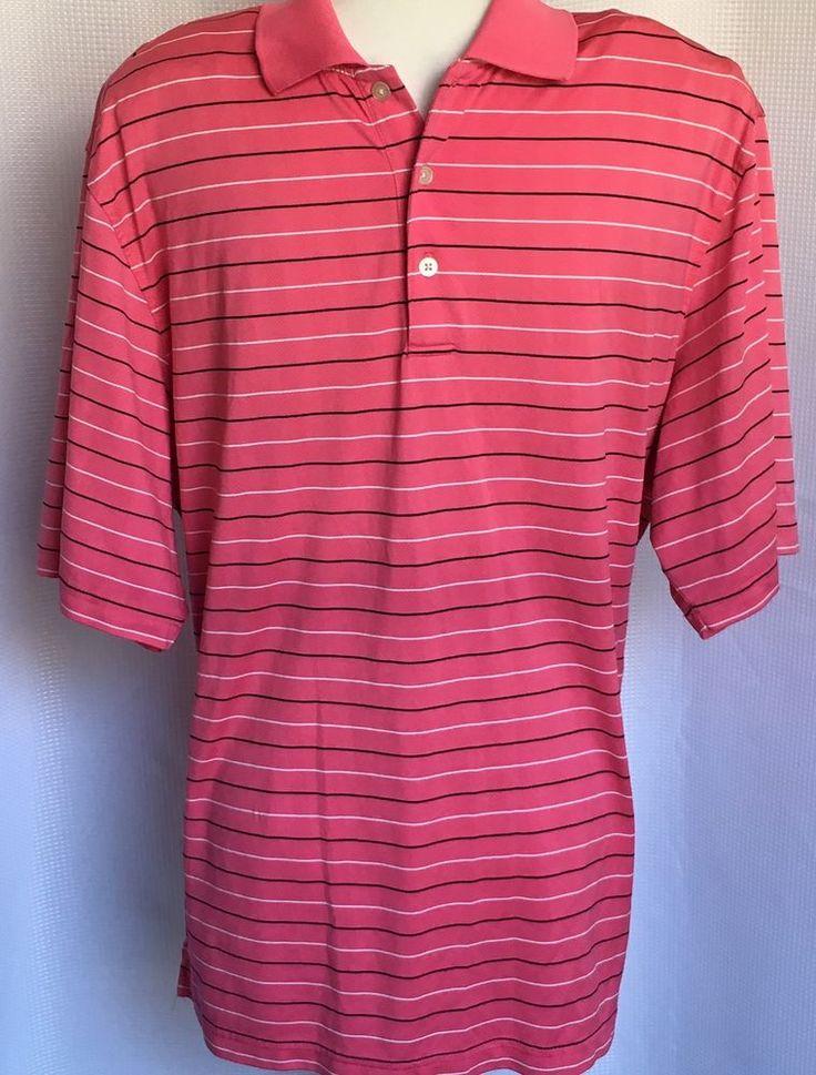 Walter Hagen Hydro-Dri Mens XL Golf Polo Shirt Pink White Black Stripe Polyester  | eBay