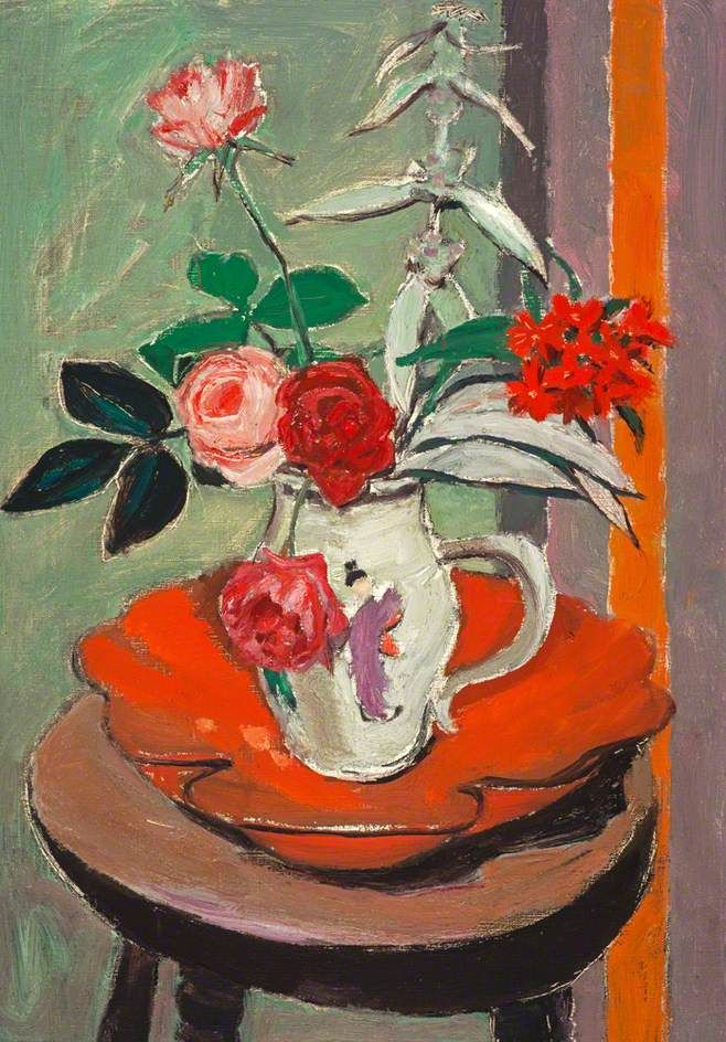 William George Gillies Still Life, Flowers on a Round Stool