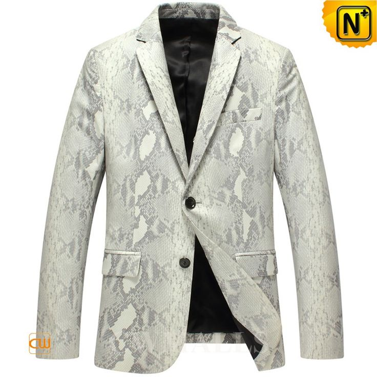 CWMALLS Men's Designer Lambskin Leather Blazer CW816125 Skinny fit mens leather blazer crafted from genuine lambskin leather with python pattern printed, this classics style lambskin blazer designed in two button closure, notched collar,fully lined,and flap pockets. www.cwmalls.com PayPal Available (Price: $867.89) Email:sales@cwmalls.com