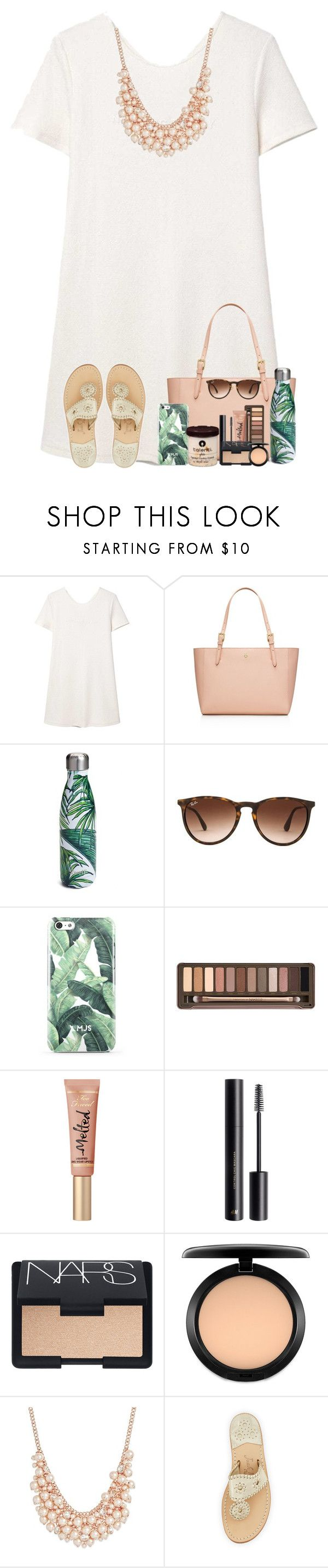 """""""Every Time I Look At You, It's Like The First Time"""" by theafergusma ❤ liked on Polyvore featuring MANGO, Tory Burch, S'well, Ray-Ban, Urban Decay, H&M, NARS Cosmetics, MAC Cosmetics, Charter Club and Jack Rogers"""