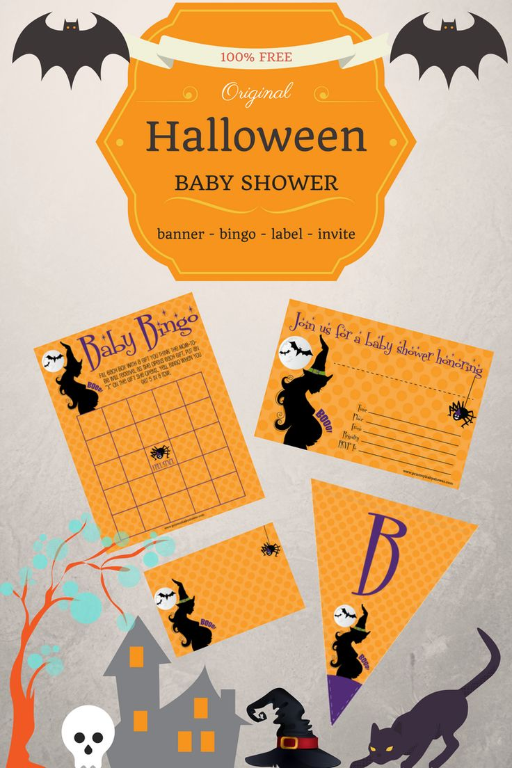 Halloween and your baby shower is just around the corner. It's time to combine the two with these free printable Halloween baby shower decorations and games!  http://printmybabyshower.com/halloween-baby-shower-invitations-games-decorations/  #HalloweenBabyShower #BabyShowerGames #PrintableBabyShower