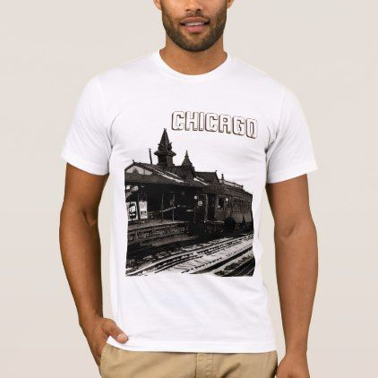 Chicago L 1950 Watercolor Sepia Photograph Subway T-Shirt - personalize cyo diy design unique