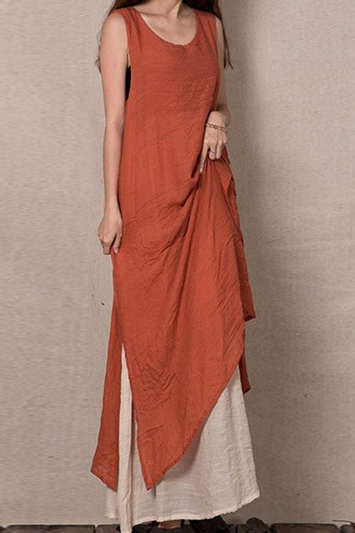 Color Block Sleeveless Linen Maxi Dress