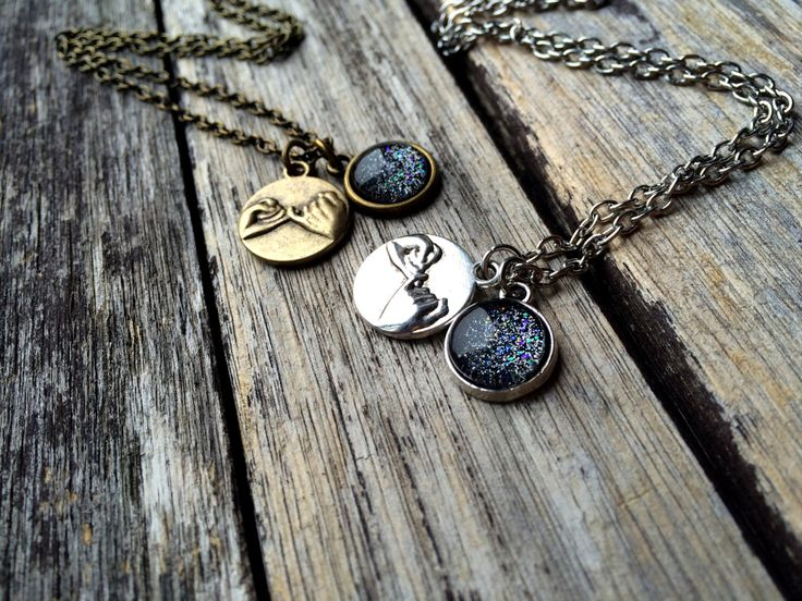 2 Pinky Promise Necklaces, matching necklaces, Dark Moon Necklace, best friend jewelry, bff necklaces, pinky swear necklace glitter necklace by AChicFairytale on Etsy https://www.etsy.com/listing/263142646/2-pinky-promise-necklaces-matching